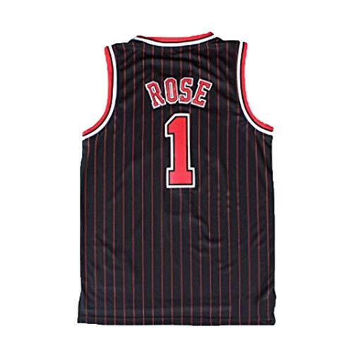 Derrick Rose 1# Basketball Jersey, Männer Chicago Bulls Basketball-Trikot, NBA Swingman ärmel-Trainings-Kleidung, in voller Größe (Color : Schwarz, Size : S)