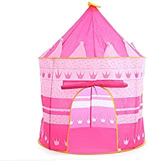 SKEIDO Pink Play Tent Foldable Tipi Prince Folding Tent Children Boy Castle Cubby Play House Kids Gifts Outdoor Toy Tents