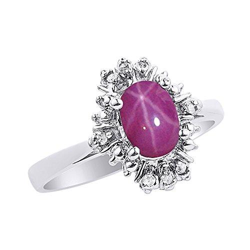 Diamond & Star - Juego de anillos de rubí en oro blanco de 14 quilates con diamantes