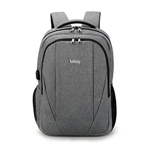 Mioy Herren Groß Kapazität Anti Diebstahl Rucksack 15.6 Zoll Laptop Backpack Oxford Tuch dauerhaft Bussiness Reisetasche Wasserabweisend Stylishe Daypack mit USB-Ladeschnittstelle (Grau)