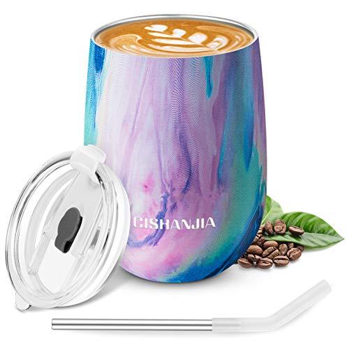 CISHANJIA Thermos Cafe Isotherme, Mug Isotherme de 360ml en Acier Inoxydable, Tasse à Café avec Eco Spill Proof Couvercle -Tasse de Voyage Réutilisable pour le Café, et le Lait (Iridescent)