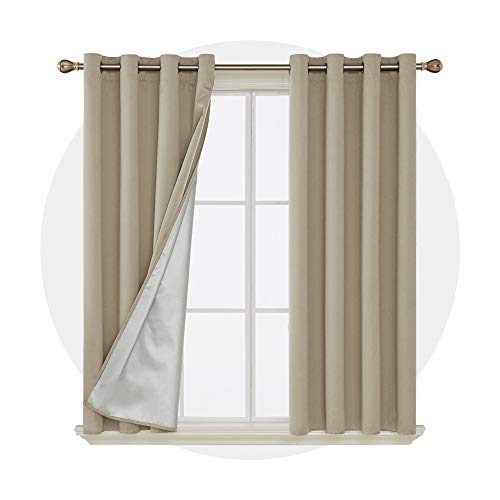 Deconovo Grommet Blackout Curtains Thermal Insulated Light Blocking Drapes