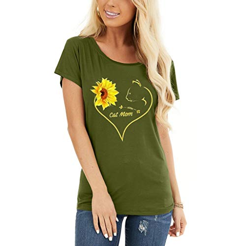 Cat Mom Shirts for Women Funny Casual Heart Sunflower Graphic Print Short Sleeve T Shirt Summer Crewneck Tops Blouse Tee Army Green