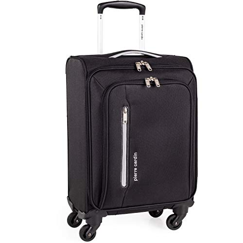 Soft Shell 21 Inch Suitcase with Wheels - Cabin Approved Jet2 EasyJet BA Luggage by Pierre Cardin   British Airways Fits 56x45x25 Hand Carry On   21' 29L Light 2.0kg (Small 4 Wheels, Black & Grey)