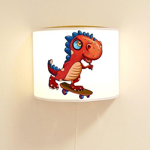 ilka parey wandtattoo-welt wandtattoo-welt® Lampe Murale pour Enfant Dino sur Skateboard, Dinosaure, Lampe à Motif Jungle, ls96