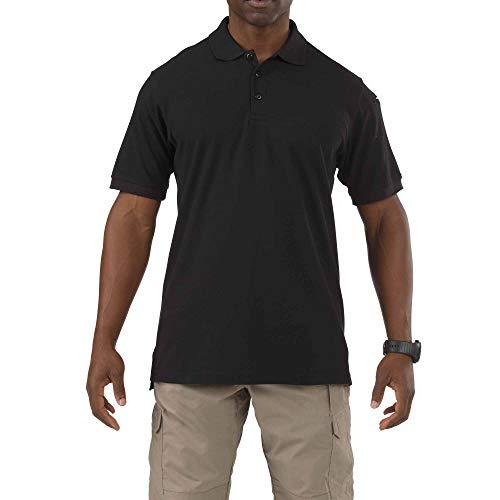 5.11 Tactical Utility Poloshirt, kurzärmlig, knitterarm, Polyester-Baumwoll-Mischgewebe, Stil 41180, Herren, schwarz, Large