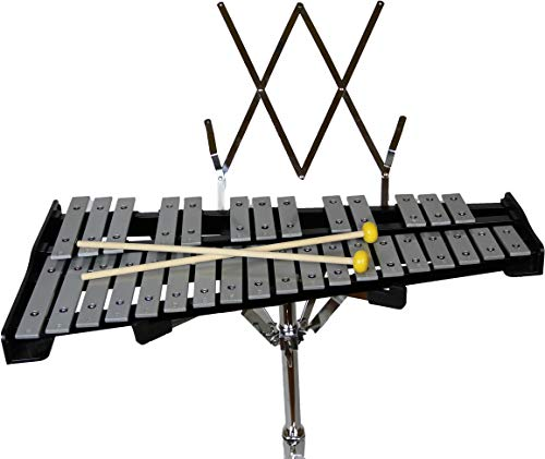 "Gearlux 32-Note Glockenspiel Bell Kit with 8"" Practice Pad, Stand, Music Rest, Mallets, Drum Sticks, and Gig Bag"