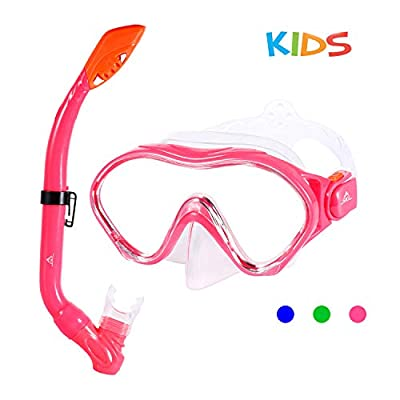 SKL Kids Snorkel Set Dry Top Snorkel Mask Snorkeling Gear Anti-Fog Anti-Leak Scuba Diving Mask and Snorkel Set for Children, Boys, Girls, Youth, Junior Aged 6-15