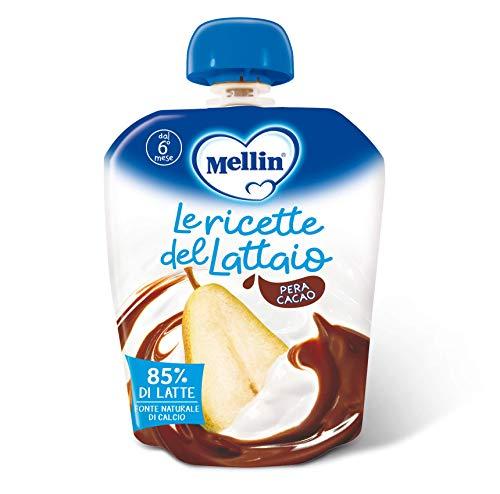 Mellin, Pouch Merenda Latte, Pera e Cacao - 6 Confezioni da 85 gr
