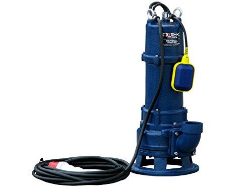 Rotek 1,5kW / 400V elektrische Schmutzwasser Tauchpumpe mit Schneidwerk und Stahlgehäuse