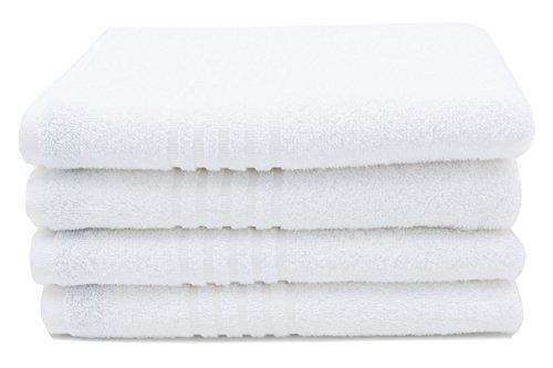 Zollner 4 asciugamani bianchi in spugna ,50x100 cm, 100% cotone