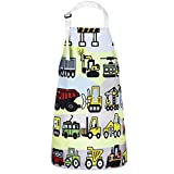 Sevenstars Kids Aprons, Vehicles in Cartoon Style Boys Girls Baking Apron, Excavator Loader Apron for Toddlers Children, Adjustable Kitchen Apron for Gardening Crafting Cooking