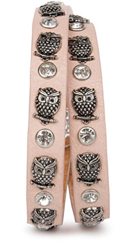 styleBREAKER Wickelarmband mit Eulen Nieten und Strass mit echtem Leder, Nietenarmband, Damen 05040019, Farbe:Rose