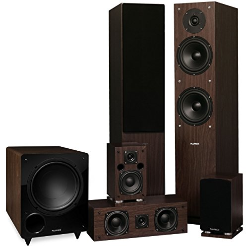 Fluance Elite Series Surround Sound Home Theater 5.1 Channel Speaker System Including Three-Way Floorstanding, Center Channel, Rear Surround Speakers and a DB10 Subwoofer - Walnut (SX51WR)