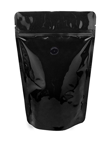 Find Discount BAP 12 oz Glossy Black Stand Up Pouch, Zip, Valve for Coffee (500 Pcs)