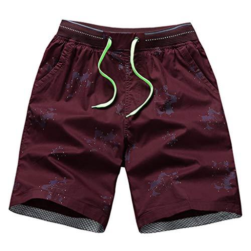 Alikey 2019 Strandbroek, nonchalant, van katoen, gestreept, met elastische tas, voor mannen, heren, zwembroek, zwempak, net, tropische stijl, reizen, korte sportbroek