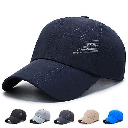 キャップ 帽子 夏 軽量 通気性抜群 メッシュ UVカット 紫外線 日よけ 速乾 軽薄 調節可能 おしゃれ 野球帽 ランニング メッシュキャップ メンズ 男女兼用 (#02.ネイビー)