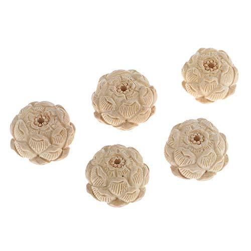 5 Unidades Perlas de Loto Talladas en Madera para Hacer Pulseras Collar Tobillos de Bricolaje - Boj