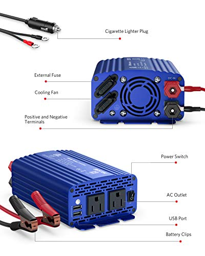 BESTEK 500W Power Inverter DC 12V to 110V AC Converter with 4.8A Dual USB Car Charger ETL Listed (Blue)