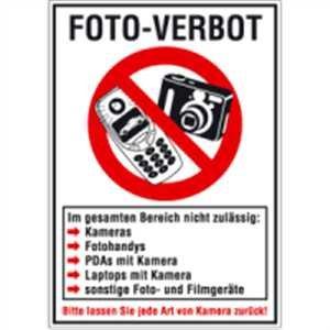 Aufkleber FOTO-VERBOT Folie selbstklebend 29,7 x 21 cm (fotografieren, Verbotsschild, Kombischild) praxisbewährt, wetterfest