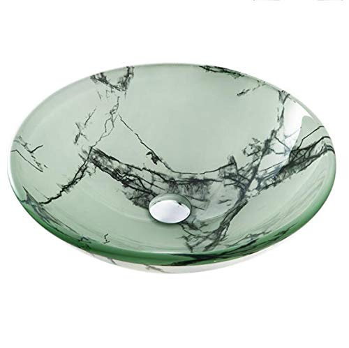Vessel Aquaterior Modern Bathroom ronde artistieke vaas van gehard glas Spa Combo afvoergarnituur montageset groen
