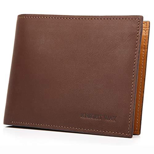 Billetera Cartera de Cuero Masculina Billetera Corta de Hombre Americana Blusa Corta de Cuero de Vaca de Primera Sección (Color : Brown, Tamaño : 9 * 11.5 * 1cm)