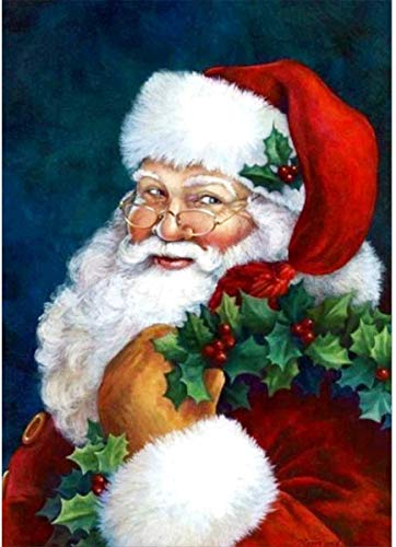 Full Drill Diamond Painting Kits for Adults, BENBO Santa Claus DIY 5D Diamond Painting Rhinestone Embroidery Cross Stitch Pictures Arts Craft Christmas Home Wall Decor, 11.8 x 15.8In