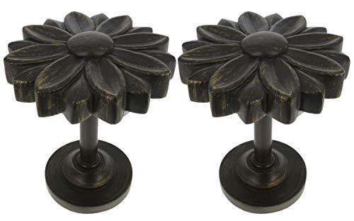 MERIVILLE Set of 2 Blossom Window Drapery Medallion Holdbacks, Curtain Tiebacks, Wall Hook, Tassel Holder, Bronze