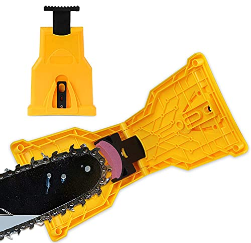 Portable Teeth Chainsaw Sharpener, Proprietary Bar-Mount Chain Saw Fast Sharpening Tool Bar Mounted Chainsaw Teeth Sharpener Fit for 14/16/18/20 Inches Two Holes Chain Saw Bar