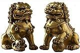 AINIYF Latón Guardián Un par de estatuas de Pekín Leones Fu Perro de Foo del Chino Feng Shui for la Oficina en casa y, atrae la Riqueza y la Buena Suerte