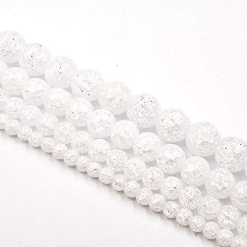 FISH4 4-12Mm Natural Stone White Snow Cracked Quartz Crystal Beads Loose Beads For Jewelry Making Accessories Diy-12Mm