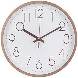 Modern Wall Clock, Silent Non-Ticking Decorative Battery Operated Wall Clocks for Living Room, Office, Bathroom, Kitchen, Thicken Plastics Frame Glass Cover (Rose Gold)