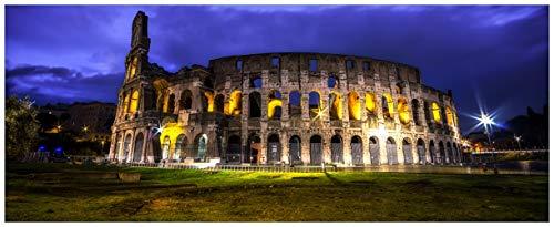 Wallario Glasbild Italien bei Nacht - Kollosseum in Rom, beleuchtet am Abend - 50 x 125 cm in Premium-Qualität: Brillante Farben, freischwebende Optik