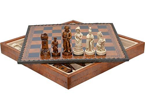 Vidal Geschenke Schachspiel Mittelalter + Backgammon Leder 28 cm