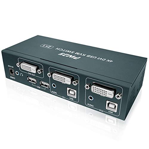 GHT DVI KVM Switch USB 2 Puertos,Conmutador KVM DVI 4K @30Hz,2 In 1 out,YUV 4:4:4, Hotkey Switch, 2 PC 1 Monitor,con 2 Cables USB y 2 Cables HDMI