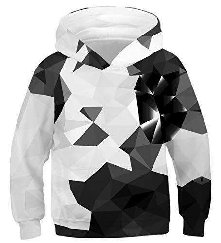 NEWISTAR Unisex 3D Hoodie Kinder Mädchen Jungen Lustig Gedruckt Kapuzenpullover Langarm Sweatshirt,Diamond1 (Weiß),8-11 Jahre (Tag M)