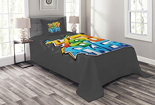 ABAKUHAUS Jugend Tagesdecke Set, Graffiti-Kunst-Jugendnetz, Set mit Kissenbezügen Waschbar, für Einselbetten 170 x 220 cm, Schwarz Grau