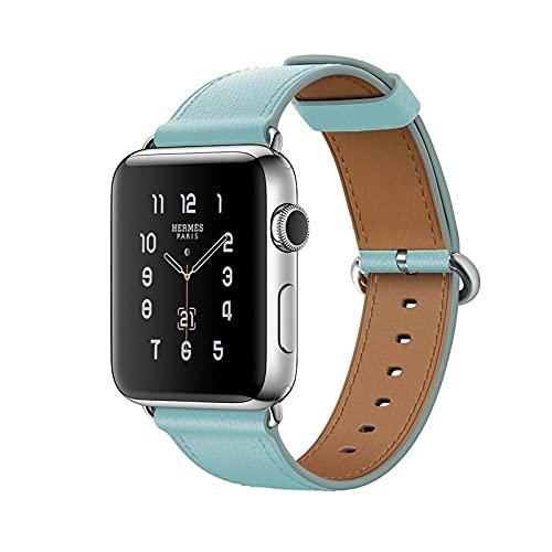 Correa Reloj para Apple Watch 123456/SE, Cuero Genuino Correa de Reloj para Hombres Mujeres con Hebilla de Acero Inoxidable, Compatibilidad Apple Correa de Reloj 42mm 44mm/38mm 40mm,Blue,44mm