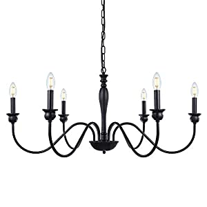 Wellmet 6-Light Farmhouse Chandelier 38 Inch, Farmhouse Light Fixture for Dining Room, Rustic Industrial Iron Chandeliers Lighting Black for Foyer, Living Room, Kitchen Island, Bedroom