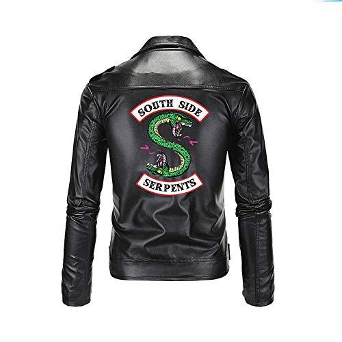 Riverdale South Side Serpents Hombre Chaqueta de Cuero PU Zip Up Double Head-XXXL