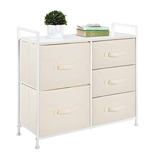 mDesign Ladekast - organizer voor garderobe en slaapkamer/opbergsysteem voor thuis - met 5 gescheiden lades - Crème/wit