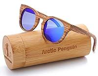 Polarized Round Sunglasses for Women Handmade Walnut Wood Glasses Vintage Mens Sun Shade with Bamboo Case UV400 (Wooden, Tea)