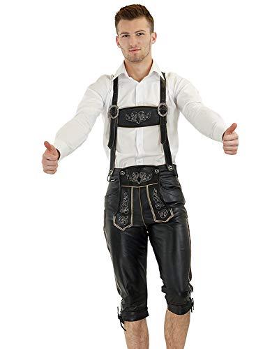 Bockle Bavaria Black Schwarze Lederhose Bayrische Bayern München Oktoberfest Wiesn Trachten Glattleder, Size: 54