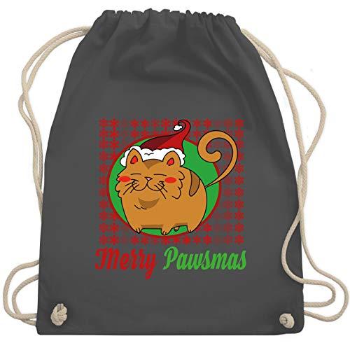 Weihnachten & Silvester - Merry Pawsmas - Unisize - Dunkelgrau - WM110_Stoffbeutel - WM110 - Turnbeutel und Stoffbeutel aus Baumwolle