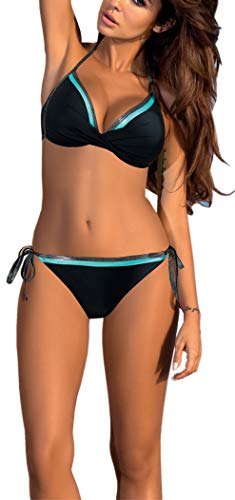 Yknktstc Womens Push Up Two Piece Bikini Swimsuits Bandeau Bathing Suits (Small, Black-Aqua)