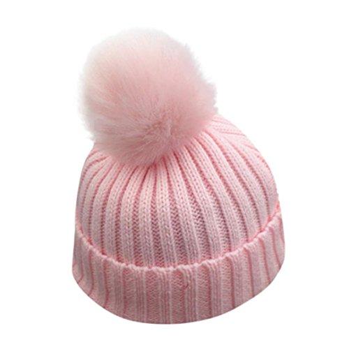 VENMO Bebé Niños niñas Invierno Gorro de Punto Caliente Beanie Sombreros de Bolas (Rosa)