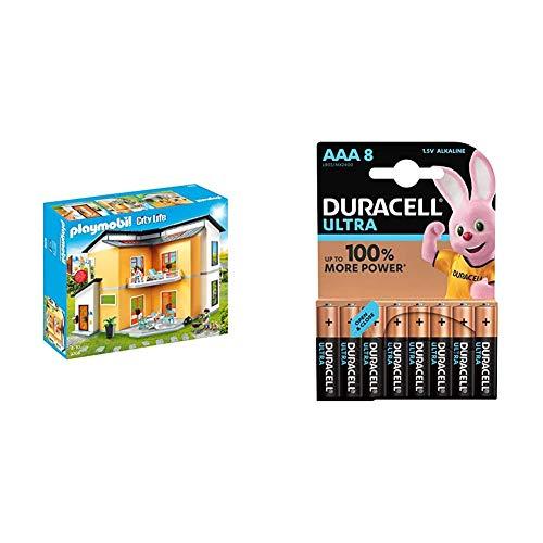 Playmobil City Life 9266 Modernes Wohnhaus, Mit Licht- und Soundeffekten, Ab 4 Jahren + Duracell Ultra AAA Micro Alkaline Batterien LR03, 8er Pack