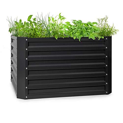 blumfeldt High Grow Straight - Hochbeet Gartenbeet, Material: verzinkter Stahl; Ø 0,6 mm, Rostschutz, 4 Aluminium-Schutzbalken, Größe: 100 x 60 x 100 cm (BxHxT), Volumen: 600 l, anthrazit