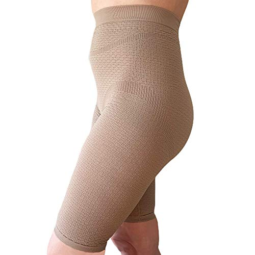 BIOFLECT® Compression Shorts with FIR Far Infrared Therapy and Micro-Massage Knit - Slimming Support and Comfort - Lipedema, Lymphedema, Inflammation - XXL Sand