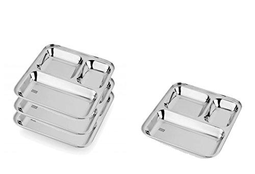 King International Assiette 3 en 1 100 % acier inoxydable - Assiette à 3 compartiments - Lot de 4 plateaux parfaits pour le camping, le déjeuner des enfants et le dîner ou une utilisation quotidienne - 24,5 cm.